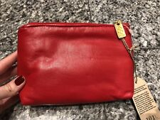 Silver Blue USA Red Leather Cosmetic Case