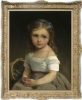 "Old Master-Art Antique Oil Painting Portrait small girl on canvas 24""x36"""