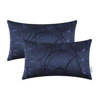 "2Pcs Navy Blue Cushion Covers Bolster Pillow Case Circles Rings Geometric 12x20"""