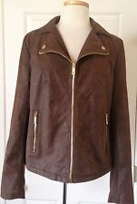NWT Womens Kenneth Cole Reaction Faux Leather Suede Jacket Cognac Brown L