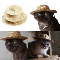 Pet Cat Puppy Dog Costume Ornament For Small Animals Straw Hat Adjustable Buckle