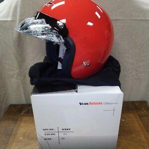 New in Box Retro VCAN V500 Red Motorcycle ATV Helmet XS