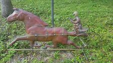 Antique Copper weathervanes horse and carriage, set of 2, 1920's, with 1 stand