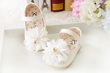 Baby Girls Christening Shoes in White, Pink,Blue Cream 6 9 12 15 18 21Months