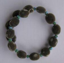 Handmade Hawaiian mgambo seed bracelet with turquoise AB2X Swarovski bicones