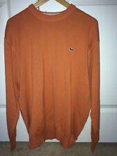 NWT $140 Lacoste Mens Cotton Sweater AH9267 7 XL Orange Flambee Made in France