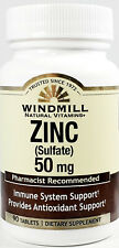 Windmill Zinc Sulfate 50mg 90ct Tablets -Expiration Date 04-2023-