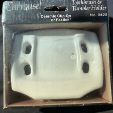 White Ceramic Toothbrush Tumbler Cup Holder Tray Wall Mount Vintage Gloss Retro