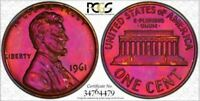1961 1C PCGS PR67RB Lincoln Amazing Toned Deep Pink - RicksCafeAmerican.com