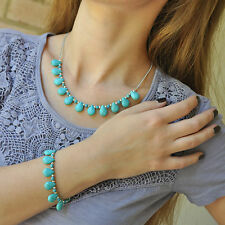 Turquoise Blue Set,  Bracelet and Necklace, Drop Beads, Silver Chain