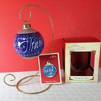 Hallmark Keepsake Glass Ball Ornament Thank You 9 Languages 2002