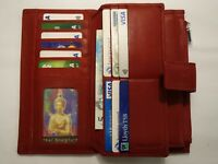 Ladies Leather Purse Wallet Organiser Extra Large Red Many features RFID PROOF