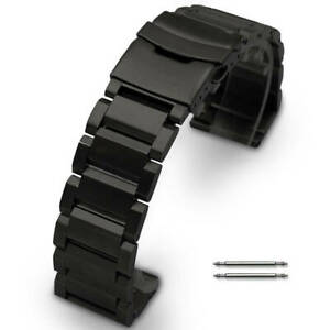 Black Stainless Steel Links Bracelet Replacement Watch Band Strap Double Clasp