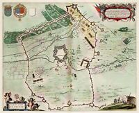Map Antique 1649 Blaeu Siege Hesdin Fort Old Large Replica Canvas Art Print
