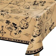 """Pirate party Treasure map Plastic tablecover, measures 102"""" x 54"""""""