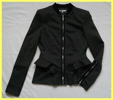 NWT $625 AMEN GREEN BLACK STRETCH JERSEY RUFFLE PEPLUM ZIP JACKET BLAZER 44 6 8