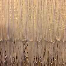 "WHITE Silky Looped Dress Fringe PER METRE- QUALITY FRINGING  6""/150mm"