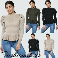 Women's Ladies Frilled Puff Long Sleeve Fashion Casual Tee T-Shirt Jumper Top UK