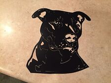 Plasma cut Large Black painted pitbull face metal mancave/ Wall Decor