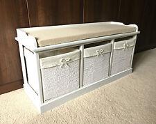 White Storage Bench Shabby Chic Wicker Drawers Baskets Seat Hallway Bathroom