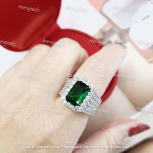 4.80Ct Emerald Cut Green Emerald Men's Engagement Ring 14K White Gold Finish