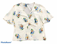 Woman's MADEWELL White Floral 100% Silk Short Sleeve Top Blouse Shirt Size 6