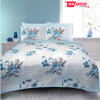 Rose Floral NEW Quilted Bedspread 100% Cotton Throw Quilt Embossed Double King