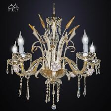 LAMPADARIO in ferro battuto 5L SPIGHE CLASSICO cristalli vetro design swarovski