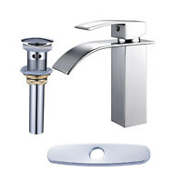 Bathroom Sink Faucet Chrome Waterfall Basin Mixer Tap With Cover And Drain