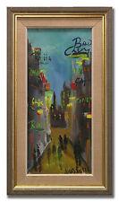 LOUIS ZELIG / STREETS UNDER NEON-LIGHTS - Original Swedish Oil Painting