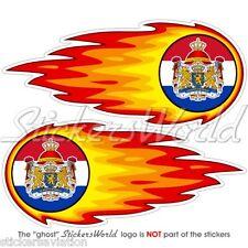 """NETHERLANDS Dutch Fireball-Flaming 125mm(5"""") Bumper-Helmet Stickers Decals x2"""