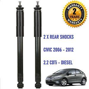 2 x Rear Shock Absorber for Honda Civic 2.2 CDTi DIESEL  2005 - 2012 - One Pair