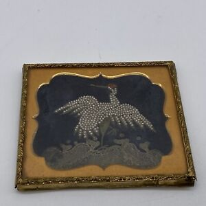 Vintage Beautiful Miniature Silk Embroidered and Beaded Crane in Gold Frame