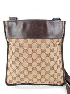 GUCCI GG Canvas Leather 27639 Shoulder Cross Body Bag Brown Beige Repaired
