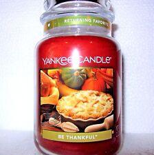 "Yankee Candle ""BE THANKFUL"" ~ Large 22 oz.~ RARE & VHTF~ WHITE LABEL~ NEW"