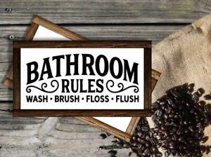 Framed Bathroom Rules Sign / 5 Size Options Bathroom Decor Wood Bathroom Sign