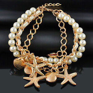 Womens Pearl Starfish Shell Chain Bracelet Gold Bracelets Fashion Bangle Jewelry