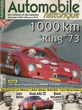 AUTOMOBILE HISTORIQUE 21 ALFA ROMEO GIULIA TZ & GTA/SA 1000KM NURBURGRING 1973