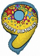 """Numero 9 Lamina A Forma Di Palloncino 25"""" 25 pollici Foil Balloon Compleanno 9th"""