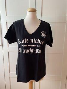 """Damen SGE Eintracht Frankfurt T-Shirt """"Eintracht-Fan!"""" XL Top Zustand schwarz"""
