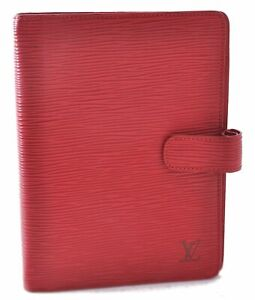 Authentic Louis Vuitton Epi Agenda MM Day Planner Cover Red LV B8218