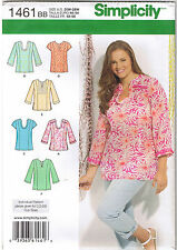 Pullover Tunic Top Neck Sleeve Var Simplicity Sewing Pattern Plus 20 22 24 26 28