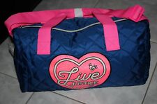 LIVE JUSTICE Girls Duffel Duffle Quilted Bag Blue Hot Pink Travel Gym Dance NWT