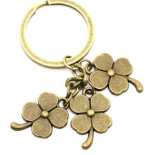 Cool Four-Leaf Clover 3 IN 1Keychain Key Ring Bronze Metal Bag Pendant Accessory