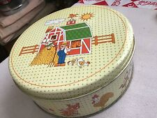 Vintage Farm Scene Tin Full of Old Buttons