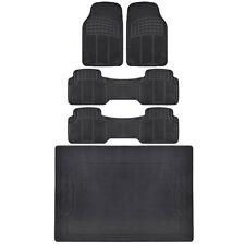 BDK All Season Heavy Duty 3 Row Van Truck Rubber Floor Mats w/Cargo Mat - Black