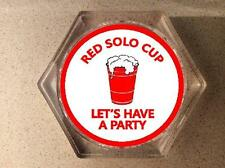 RED SOLO CUP DRINK COASTERS - DRINKING  - BAR COASTERS - SET OF 2