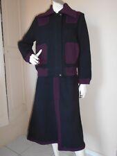 CHACOK vintage ensemble laine mélangée blouson jupe noir et prune T40