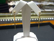 FINE 14 KARAT YELLOW GOLD CROSS DANGLING THIN EARRINGS NEW WOW