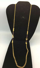 "Kirks Folly Star Crystal Necklace With Purple Hearts 31"" Length"